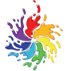 rainbow paint splash vector image