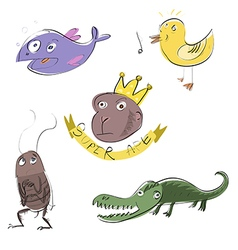 Five funny animals vector