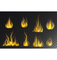 Fire flames collection isolated on black vector