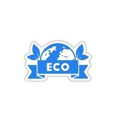 Paper sticker on white background eco symbol vector