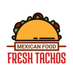 Mexican food restaurant linear icon with taco vector