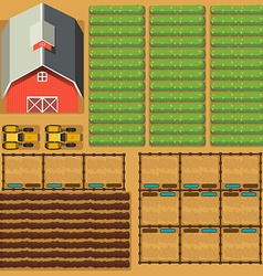 Aerial scene of farmland with barn and crops vector