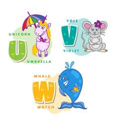 alphabet children colored letter u v w vector image vector image