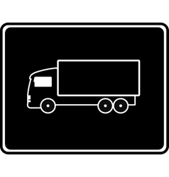 Black icon with shipping truck vector