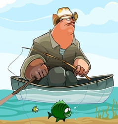 cartoon fisherman is fishing from a boat vector image vector image
