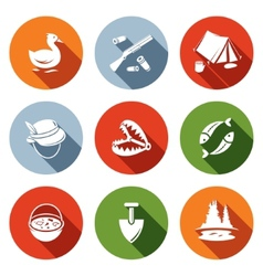 Color hunting and fishing flat icon set vector
