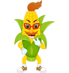 Cute corn cartoon standing with smile vector
