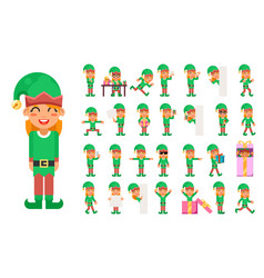 Elf girl christmas santa claus helper in different vector