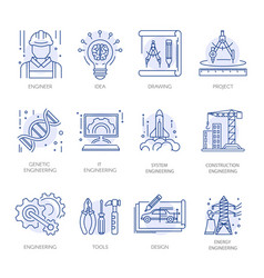 engineering construction energy technology vector image