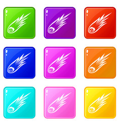 Falling meteor with long tail icons 9 set vector