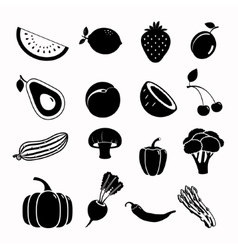 Food black icon set vector