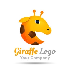 Giraffe head Colorful 3d Volume Logo Design vector image vector image
