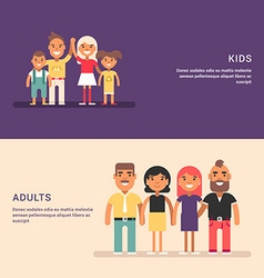 Groups of adults and kids friendship and gathering vector