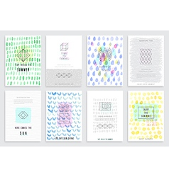 Hand drawn watercolor set of cards vector