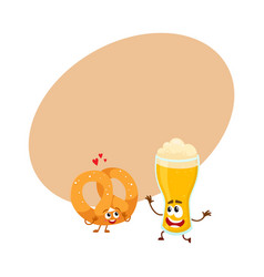 Happy aluminium beer can and pretzel characters vector