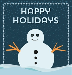 happy holidays snowman frame background vector image