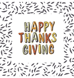 Happy Thanksgiving typography on leaves seamless vector image