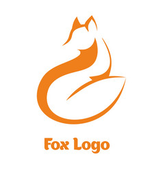 Logo fox fox sitting and looking away vector