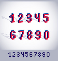 Modern tech whole numbers set geometric pixilated vector
