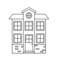 Monochrome silhouette facade house of two floors vector