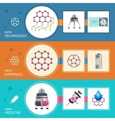 Nanotechnology concept 3 flat banners set vector