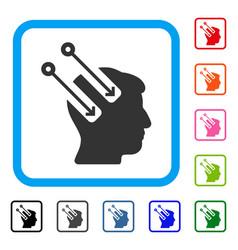 Neural interface framed icon vector