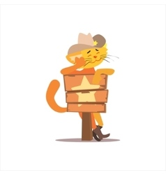 Puss in boots with star sign vector