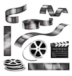 realistic clapper photographic strips and film vector image