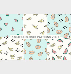 Seamless repeat fruit patterns collection vector