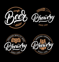 set of beer and brewery hand written lettering vector image vector image
