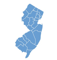 State map of new jersey by counties vector