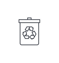 Trash recycling thin line icon linear vector