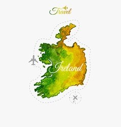 Travel around the world ireland watercolor map vector