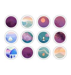 Trendy stickers set vector