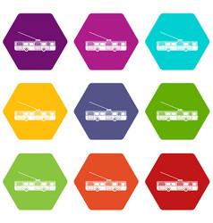 Trolleybus icon set color hexahedron vector