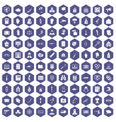 100 violation icons hexagon purple vector