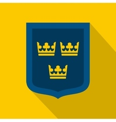 Coat of arms of sweden icon flat style vector