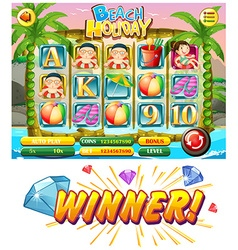 Game template with summer theme vector image