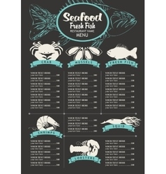 Menu with price list for a seafood vector