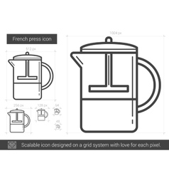 French press line icon vector