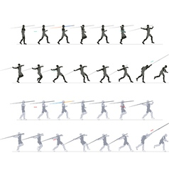 Silhouette exercising javelin vector