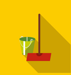 Mop and bucket icon flat style vector