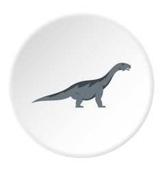 Grey titanosaurus dinosaur icon circle vector