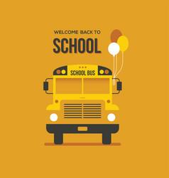 School bus with balloons vector