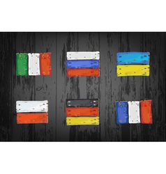 European countries flags made of wooden planks vector