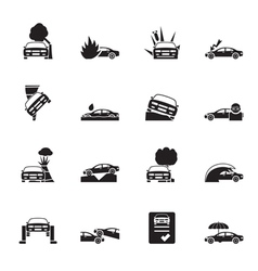 Silhouette transportation insurance and risk icons vector