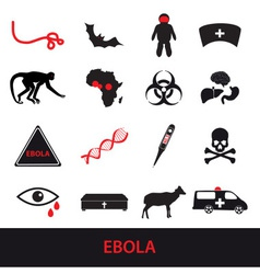Ebola disease icons set eps10 vector