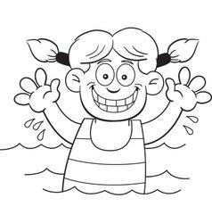 Cartoon girl swimming vector