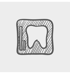 Tooth protected by a glass sketch icon vector