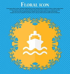 Ship floral flat design on a blue abstract vector